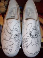 Stitch and Angel shoe outline by IamKira69