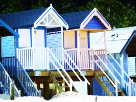 Blue Beach Huts by Toiger