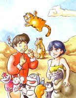 Ranma and the cats by Gigei
