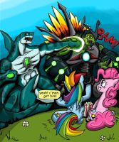 Pinkie, Dash and a Kaiju fight by Blabyloo229