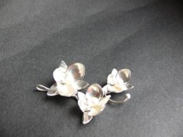 silver orchid pendant by irineja