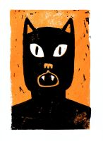 Pantherman Lino Print by Teagle