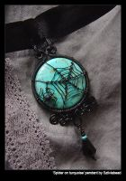Spider on turquoise pendant by bodaszilvia