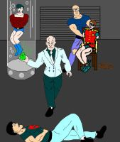 Superboy Aqualad and Robin captured by Lex Luthor by holybearhug