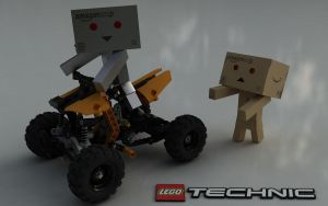 Danbo and LEGO TECHNIC Quad Bike 9392 by Dracu-Teufel666