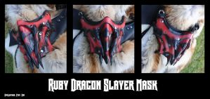 Ruby Dragon Slayer's Leather Mask by Epic-Leather