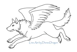 FREE Winged Wolf Line Art by DansuDragon