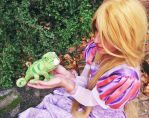 Rapunzel and Pascal by Kharen94th