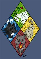 Elemental Wolves Stained Glass by wilder