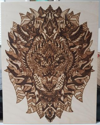 Woodburning - Lion Head by Stepher17