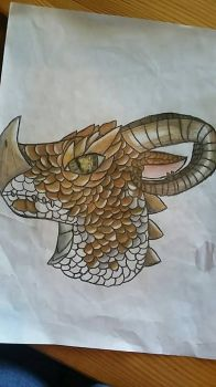 (WIP2)The Dragon with Ram's horns  by DlerafoxDeviantart