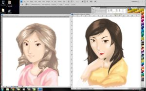 Pretty Girls Painting WIP by karlonne