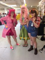 Fluttershy Pinkie Pie and Applejack AAC 2014 by wolfgirl23427890