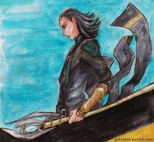 Loki in watercolours by Gekroent