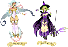 Witch Adoptables: Wind and Techno (both sold) by Costly
