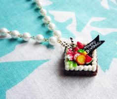 Square Fruit Cake Charm Pearls by Meow-Box
