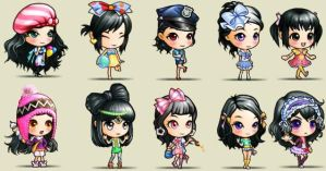 Designing with black haired girls by SeitoAnna