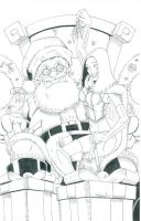White Queen on Santa's Lap Inked by CliffEngland
