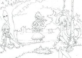 pixie and friends coloring page by deLunela