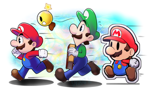 Mario and Luigi Paper Jam by Sakusagi
