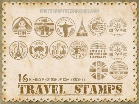 16 Travel Stamps Photoshop Brushes by fiftyfivepixels