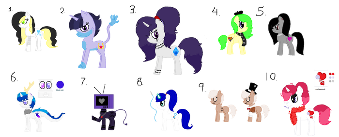 Selling old OCs (Open 2/10) by ShimmerStarGirl12