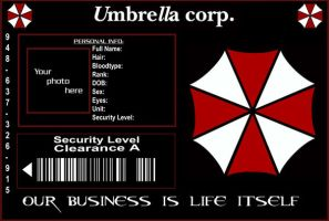 Umbrella Corp ID Template by purplepuddlenut