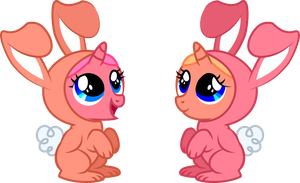 Cherry and Peach - Twin Bunny Blooms by Creshosk
