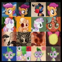 Cutie Mark Crusaders (and Spike) - Face Dances by kefkafloyd