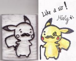 Pikachu Like A Sir! Rubber Stamp by MistyTan