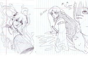 Idle Miku and Sess sketches by Leefuu