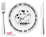 Vegan porcelain dinner plate - Why vegan by Pupavegan
