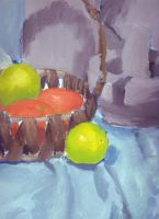 Still Life Apples in a Basket by mhofever