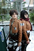 Eren Jaeger, Mikasa Ackerman by august-fehrmont