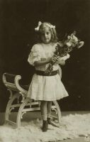 Vintage little girl with flowers 004 by MementoMori-stock