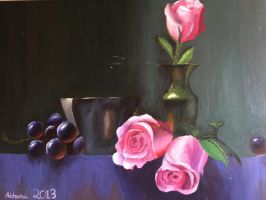 Grapes and Roses Painting by Athena-Rose