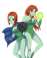 Request: Raven and Starfire as Poison Ivy by madzik23