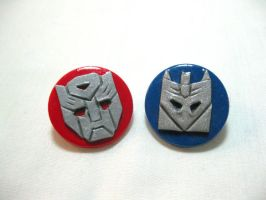 Autobot + Decepticon Pins by kitcat4056