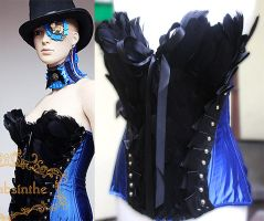 re-styled black swan feather corset by Pinkabsinthe