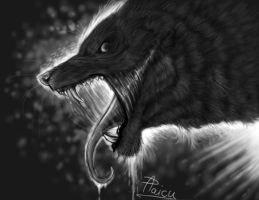 Greyscale demon wolf by RogueLiger