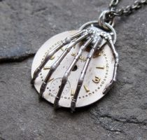 'Clutch' Watch Parts Skeleton Hand Pendant by AMechanicalMind