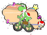 yoshi in the Track Cycling Team Pursuit event by Amandathecrocodile
