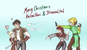 K2 Christmas-Kalma and Strav by MaskedSugarGirl