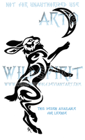 Hare And Moon Tribal Design by WildSpiritWolf