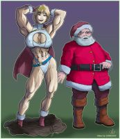 Powergirl and Santa- vectorish by yatz