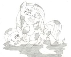 Rarity and Trixie Mudwrestling by Chronicle23