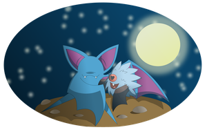 Zubat and Woobat by Sandstormer