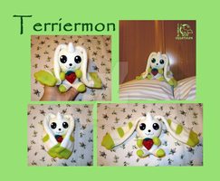Terriermon Ban Dai Style Plush OOAK - FOR SALE by WolfPink