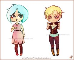 My OCs: Kiya and Olivier - chibis by AurionPride