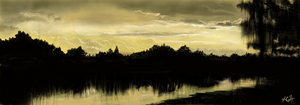 Sunset over trees and lake by Artist-KGH